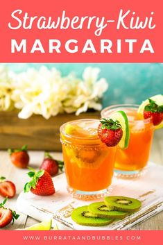 If you love fruity margaritas, this strawberry kiwi margarita recipe is for you! Made with freshly muddled strawberries and kiwi, this summer margarita is the perfect patio cocktail. #strawberrykiwimargarita #strawberrykiwicocktail #fruitymargaritarecipe #uniquemargaritarecipes #summermargaritarecipes #summercocktails #freshmargarita Drinks Alcohol Recipes, Yummy Drinks, Cocktail Recipes, Refreshing Drinks, Drink Recipes, Dinner Recipes, Fruity Cocktails, Summer Cocktails, Kiwi Margarita Recipe