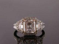 2.91ct Natural Pink Emerald Cut Diamond Ring 3 Stone Ring