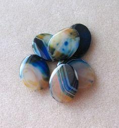 Blue Agate Gemstone Pendants Jewelry Making by CatsBeadKitsandMore