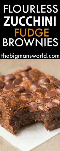 Healthy Flourless Zucchini Fudge Brownies made with NO butter and NO flour and…