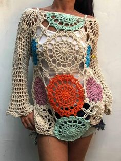 Sexy Crochet Bell Sleeve Top Crop Blouse Multicoloured Summer Beachwear Mandala Granny Squares Hippie Boho Gypsy Carnaby Bohemian Festival - Source by - Débardeurs Au Crochet, Moda Crochet, Crochet Blouse, Crochet Mandala, Boho Gypsy, Hippie Boho, Bohemian Mode, Crop Blouse, Crochet Clothes