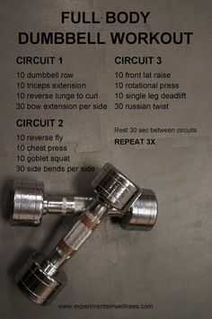 dumbbell workout Full Body Workout With Dumbbells If you are lo Full Body Dumbbell Workout, Body Workout At Home, At Home Workout Plan, At Home Workouts, Gym Workouts, Workout Plans, Workout With Dumbbells, Full Body Strength Workout, Full Body Workouts