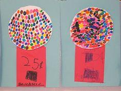 Kindergarten Art: The Clever Feather: Wayne Thiebaud Gumball Machines