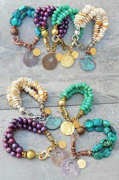 Hot off the Bench NEW 3 Strand Beaded Charm Bracelets Under 100 Wire Jewelry, Boho Jewelry, Beaded Jewelry, Jewelery, Jewelry Design, Leather Jewelry, Jewelry Shop, Gemstone Bracelets, Handmade Bracelets