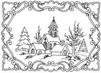 Adult coloring page Winter Landscape