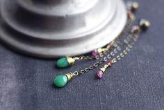 Long dangle chain earrings with brass chain apple by SabiKrabi, $28.00