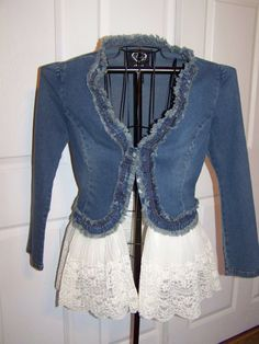 Denim and Lace Upcycled Bohemian, Gypsy, Shabby Chic  Jacket