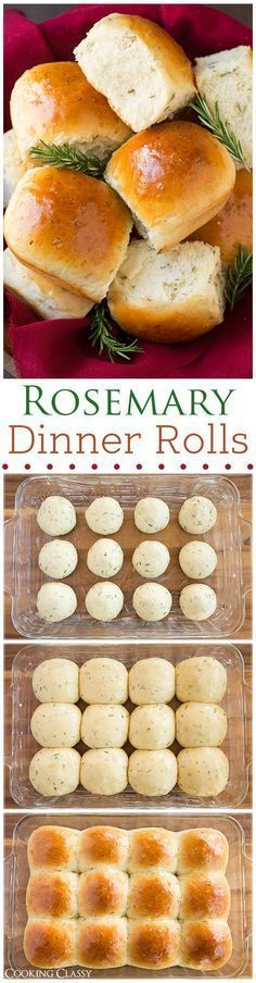 Rosemary Dinner Rolls - Light and fluffy and full of fresh rosemary flavor. Great dipped in olive oil and cracked pepper dinner rolls Rosemary Dinner Rolls - Cooking Classy Thanksgiving Recipes, Fall Recipes, Holiday Recipes, Recipes Dinner, Thanksgiving Sides, Dinner Ideas, Christmas Recipes, Christmas Eve, Christmas Parties