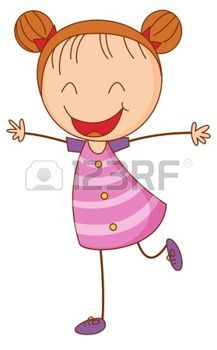CARTOON GIRL WITH RED HAIR: Illustration of a happy girl