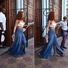 Rihanna wearing Victoria's Secret PINK strappy bralette and Chloe denim maxi skirt in Cuba