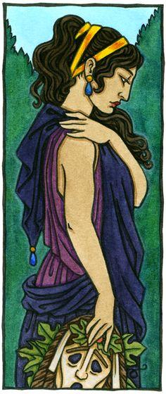 Melpomene, Muse of Tragedy, one of the Nine Muses of Greek myth. Artwork by Thalia Took. Greek And Roman Mythology, Greek Gods, Greek God Of Light, Rome Antique, Magick Book, Roman Gods, Sacred Feminine, Gods And Goddesses, Thalia