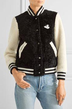 MARC JACOBS Appliquéd shearling bomber jacket