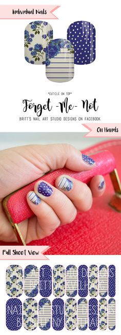 Forget-Me-Not Nail Wraps by Jamberry. Don't forget to grab yours up!