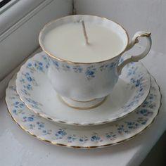 Royal Albert 'Memory Lane' Teacup Candle, Saucer & Plate