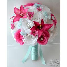 Artificial Silk Flower Wedding Bridal Bouquets Tiffany/Tiffany Blue/Blue/Fuchsia/White