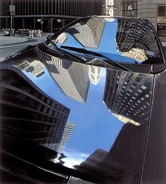 Richard Estes ~ Broad Street, New York City, 2003 photo realism Chuck Close, Manet, Renoir, Reflection Art, Reflection Photography, Digital Photography, Street Photography, Illinois, Hyper Realistic Paintings