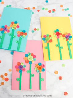 Kids' button flower art The Effective Pictures We Offer You About Button Crafts for Kids art projects A quality picture can tell you many things. Daycare Crafts, Preschool Crafts, Kids Crafts, Arts And Crafts, Toddler Crafts, Flower Activities For Kids, Craft Activities, Button Crafts For Kids, Bunny Crafts