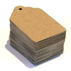 100 Blank Scallop End KRAFT Cardstock Price Tags with Chocolate Brown Baker's Twine . Small . 1 x 1.5