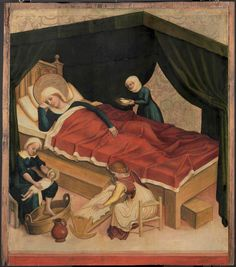Medieval Bed, Medieval Life, Renaissance, Medieval Furniture, Holy Roman Empire, Birth And Death, 15th Century, Illuminated Manuscript, Middle Ages