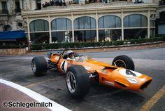 GP Monaco 1969 - Bruce McLaren slides in front of the Hotel de Paris in Monaco 1969
