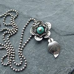 turquoise+hammered silver