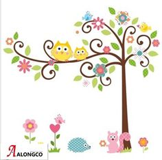 cute owl,squirrel and hedgehog wall sticker ,tree decor livingroom paper,colorful cartoon wall paper,ZY1001 free shipping  $10.50