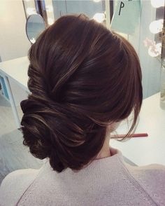 elegant low updo bridal wedding hairstyles