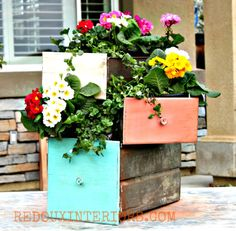 Metal Drawers turned into Planters. CeCeCaldwells Vintage White, Kailua Coral and Santa Fe Turquoise REDOUXINTERIORS.COM FACEBOO: REDOUX
