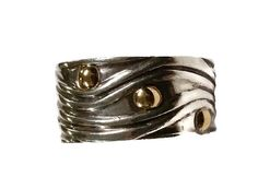 Modern Sterling Silver and 18K Gold Band Ring by TrendyTreasures1#Vintage #Vogueteam #TeamLove #EcoChic