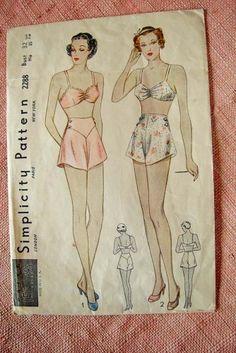 Lingerie Vintage Panties   LINGERIE Pattern Bra Tap Panties vintage Glam 1930s Simplicity Rare ...
