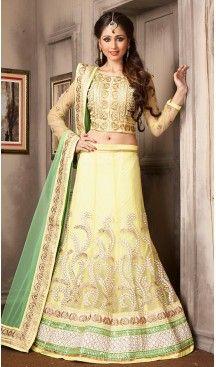 Yellow Color Net A Line Style Party Wear Lehenga Choli   FH479574048 #lehenga , #choli , #ghagra , #heenastyle , #desigins , #wedding , #party , #wear , #garba , #online , #style , #occasion , #festivel , #fashion , @heenastyle