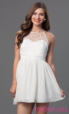 Short Sleeveless Dress with Lace Detailing at PromGirl.com