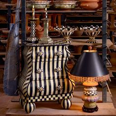 The Courtly Stripe Bombay and The Lighthouse Lamp. Love this small table/chest. Striped Furniture, Funky Painted Furniture, Cool Furniture, Furniture Design, Mackenzie Childs Furniture, Lighthouse Lamp, Painted Rocking Chairs, Bombay Chest, Next Bedroom