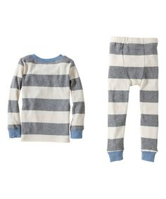 Look at this #zulilyfind! Heather Gray & Ivory Rugby Stripe Organic Pajama Set - Toddler & Boys #zulilyfinds