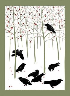 """""""Ravens in Winter"""" by Rick Allen Simply Beauty-Full!! What a Wondrous Image of a StoryTelling of Ravens!!"""