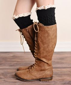 Loving this Black Knit Ruffle Boot Cuffs from #justcouture on #zulily! #zulilyfinds www.justcouturestore.com