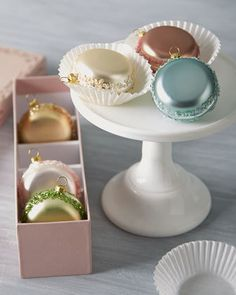 Katherines Collection Six French Macaron Glass Christmas Ornaments