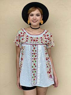 Music festival shirt women, SMALL mexican blouse, hand embroidered flowers, white polka dots cotton short sleeve top, mexican outfit Mexican Blouse, Mexican Outfit, Embroidered Blouse, Embroidered Flowers, Floral Embroidery, Festival Shirts, Romper Pattern, Floral Tunic, Girls Rompers