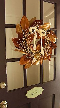 I have 2 neighbors with magnolia trees I could collect the leaves to make this wreath. Beautiful.
