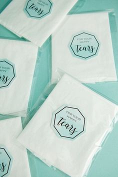 """Using individual tissues, treat bags and our free printable labels - you can make the most darling little """"happy tears"""" favors for your wedding guests! Cookie Wedding Favors, Homemade Wedding Favors, Chocolate Wedding Favors, Edible Wedding Favors, Unique Wedding Favors, Wedding Guest List, Wedding Gifts For Guests, Budget Wedding, Wedding Planner"""