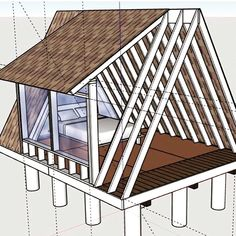 Discover recipes, home ideas, style inspiration and other ideas to try. Tiny Cabins, Tiny House Cabin, Tiny House Living, Tiny House Design, Cabin Homes, A Frame House Plans, A Frame Cabin, Tiny House Plans, Attic Remodel