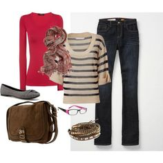 shear striped sweater with jeans