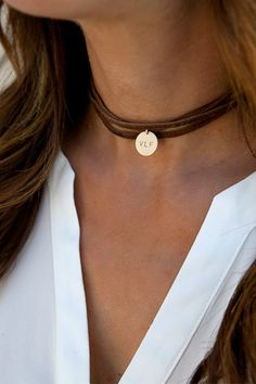 Leather Wrap Boho Choker, Personalized Leather Choker, Leather and Gold Choker, Sterling Silver 14K Gold Fill, Gift for Her LEILAjewelryshop