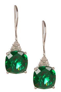 10K White Gold Cushion Created Emerald & Triple Diamond Drop Earrings - 0.03 ctw on HauteLook