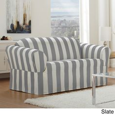 Cabana One-piece Relaxed Fit Wrap Sofa Slipcover - Overstock Shopping - Big Discounts on Sofa Slipcovers  This would be cool in the back room to give some visual interest since there's not much back there.