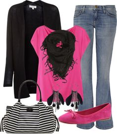 """Love the hot pink shirt and short black scarf!     """""""
