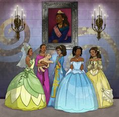 The phenomenal ravennowithtea created this fantastic image for me centered around a special collection of Disney princesses. They include (from left to right): Tiana (Anika Noni Rose) Aida (Heather. Black Characters, Black Cartoon Characters, Black Girl Cartoon, Black Girl Magic Art, Art Girl, Black Cartoon, Black Disney Princess, Black Girl Aesthetic, Black Women Art