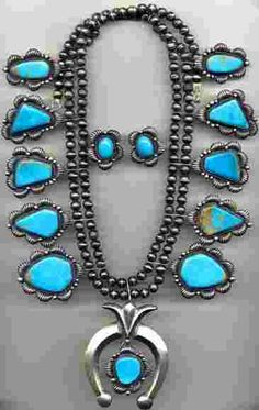 Kirk Smith Sterling & Turquoise Squash Blossom Necklace