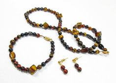 Tiger's Eye Jewelry Set by kiddercreations on Etsy, $40.00