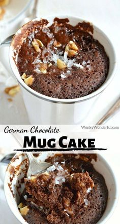 german chocolate cheesecake Craving chocolate and need a quick dessert fix? This Egg-Free, Dairy-Free German Chocolate Mug Cake Recipe is the solution! No eggs. No dairy. And this vegan chocolate cake is made in 5 minutes! German Chocolate Cheesecake, Hot Chocolate Fudge, Craving Chocolate, Chocolate Mug Cakes, Vegan Chocolate, Chocolate Recipes, Homemade Desserts, Great Desserts, Quick Dessert
